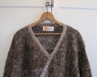 1970'S Bolivain Alpaca Sweater with Batwing Sleeves, Bolivia, Dolman Sweater, Batwing Sleeves, Alpaca, Brown, Ecru 1960's, 1970's, Small