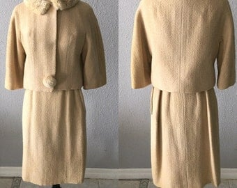 1960's Wool Suit With Faux Fur Collar Jackie Kennedy Mid Century Modern Mad Men Beige Suit