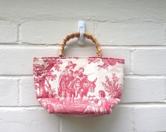 FLASH SALE! Vintage toile handbag with bamboo handles