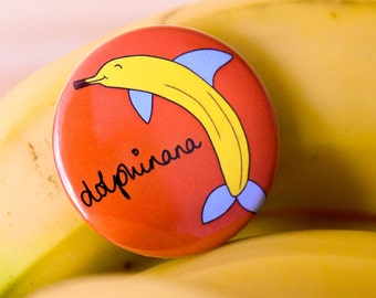 Dolphinana Funny Fridge Magnet-Dolphin+Banana Pun-Funny Animal Magnet-Funny Kitchen Decor-Vegan Kitchen-Alternative Gifts-Boyfriend Gift