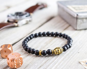 6mm - Matte black onyx beaded gold Buddha stretchy bracelet, made to order yoga bracelet, mens bracelet, womens bracelet, bead bracelet