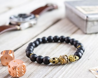 8mm - Matte black onyx beaded stretchy bracelet with gold skulls and jasper stone, custom made yoga bracelet, mens bracelet, womens bracelet