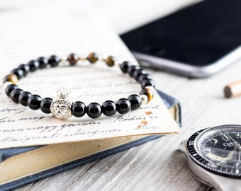 6mm - Black onyx & tiger eye beaded stretchy bracelet with sterling silver Lion and beads, made to order mens beaded bracelet, mens bracelet