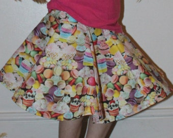 hand made circle skirt / sweets material / candy material / retro style skirt / NEWBORN - ADULT SIZING