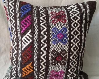 "Kilim Pillow, 18""×18""inches, Decorative Pillow, Cushion Cover, Pillow Cover, Throw Pillow, Tribal, Turkish, Anatolian, Bohemian, Moroccan"
