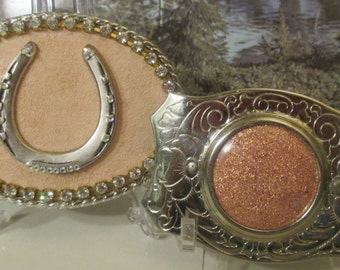 Belt Buckle--Horseshoe--Ladies' Buckle--Rhinestones--Costume Jewelry  AND Pink Enamel Belt Buckle--Chrome  (?)
