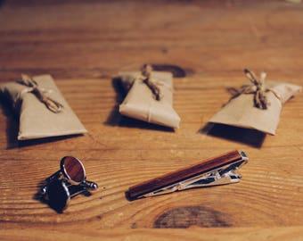 Natural Silver Wooden Cufflinks and Tie Clip/Bar, Tasmanian Blackwood, Jarrah, Orange oil, Handmade Gift, Groom, Wedding