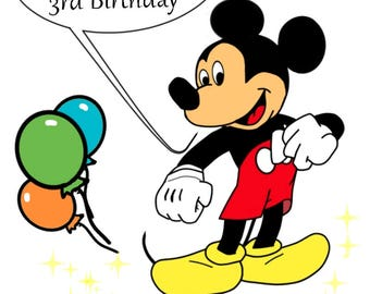 Happy Birthday Card, Mickey Mouse Card, Happy Birthday