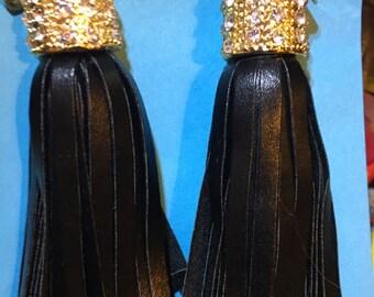 Long and Bold Rhinestone and Gold Black Tassell Earrings  J18