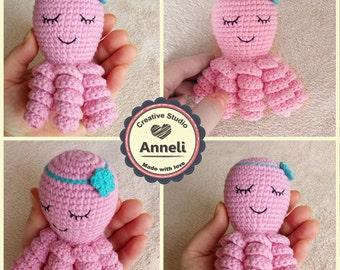Crochet Octopus Amigurumi/Octopus Plush/Octopus Plushie/Stuffed Animal/Cute Octopus/Octopus Toy/ Stuffed/ Octopus girl/ Octopus with flower