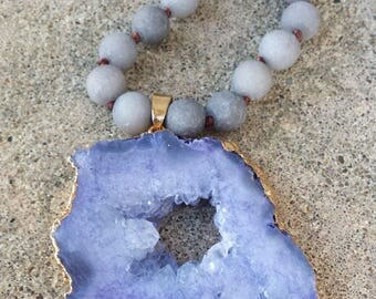 Hand Knotted Jade Necklace With Light Purple Drusy Pendant