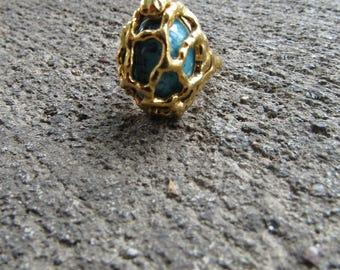 Vintage Designer Ring Trifari Statement Ring Bold Ring Caged Ring Boho Jewelry Size 5 6 7 Designer Ring Chic Ring Gold Turquoise  Cabochon