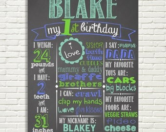 "Boys First Birthday Chalkboard Sign 16x20"" Poster Green Blue Aqua or* Choose Your Own Colors* Digital File Only"