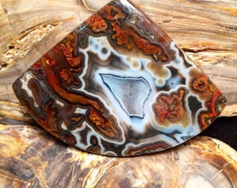 Turkish pseudomorph and tube agate cabochon