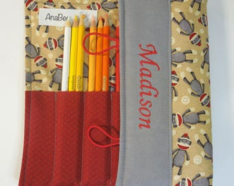 Personalized Colored Pencil Roll - Sock Monkey, Pencil case, Pencil roll, 24 pencils