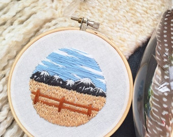"""Mountain landscape 4"""" embroidery hoop"""