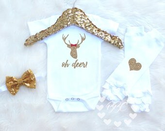 """Baby Girl Clothes // """"Oh Deer"""" // Baby Girl Outfit // Baby Girl // Deer Shirt // Country Girl Baby // Headband Leg Warmers // One Piece Set"""