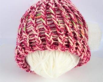 SUMMER SALE - Pink baby hat, newborn baby hat, knitted baby hat, pink newborn hat, baby girl hat, woolly baby hat, baby hats, newborn