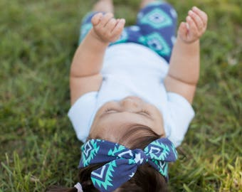 Turquoise and Navy Navajo Knot Bow Headband for Baby & Toddler