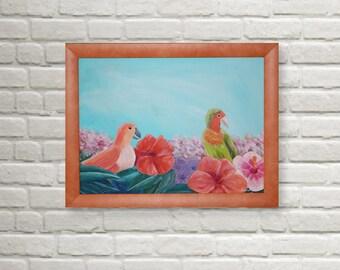 "Original Acrylic Painting ""Paradise Birds"" 30x40 cm"