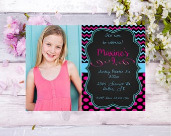 girls photo invitation, girls birthday party invite, teen birthday, pink birthday, tween birthday, personalized birthday invite