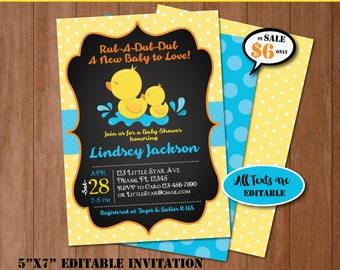 Rubber Duck Baby Shower Invitation-Self-Editing Chalkboard Rubber Ducky Baby Shower Invite-Printable Yellow Duck Party Invitation-B408-Y