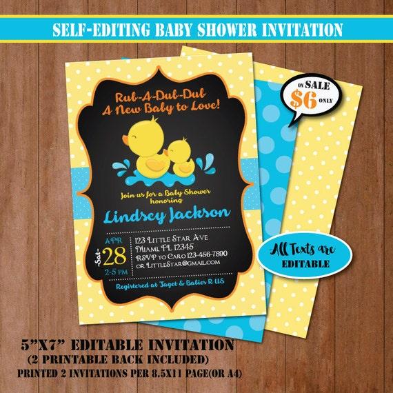 Rubber Duck Baby Shower Invitation-Self-Editing Chalkboard