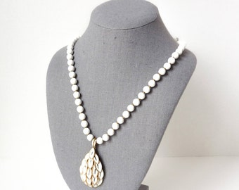 Vintage White Pendant Necklace with Enameled Gold Tone 1950s Statement Design by Crown Trifari