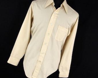 Vintage Arrow Ultressa Shirt Men's Button Down Front 15.5 15 1/2 35 Dacron Polyester Wide Spread Collar 70's H1