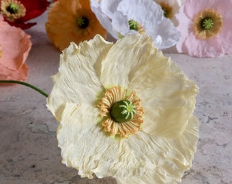 Crepe Paper Iceland Poppy, Single Stem - Wedding Flowers - Home or Office Decor - Florist Supply - Paper Flowers