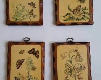 Vintage Butterfly Wall Art, Home Decor, Set of 4 Butterfly Prints, Yellow, Monarchs, Flowers, Nature Designs