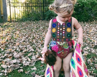 ADD ON Kantha Wrap Skirt for Romper or Bloomer, Toddler Wrap Skirt, Baby Skirt, Block Print Baby, Skirted Romper, Bohemian Kids Clothes