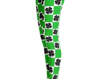 St. Patricks Day Clover print Leggings - Saint Patrick Leggings - clover leaf - Yoga Leggings - Patterned Leggings - Print Leggings