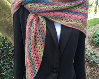 Soft spring rainbow shawl