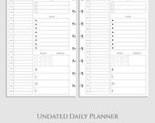 Undated Daily Planner Inserts ~ DO1P ~ Agenda, Time Blocking, Health Tracker, To Do List ~ Half Size Discbound / Junior Arc (DHL-DV1-U)