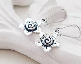 Silver Flower Earrings | Silver Boho Earrings