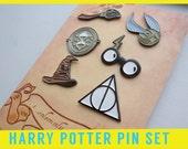 HARRY POTTER PIN set - Combo Sorting Hat Golden Snitch Time Turner Nimbus Broom Deathly Hallows Glasses Lightning Bolt Enamel Lapel Pins