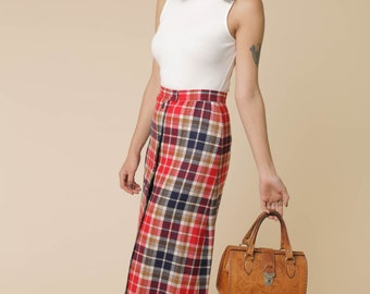 """Pendleton """"Knockabouts"""" Brand Seventies Maxi Skirt // 60s 70s Button Front Plaid Skirt in Red, White & Blue //"""