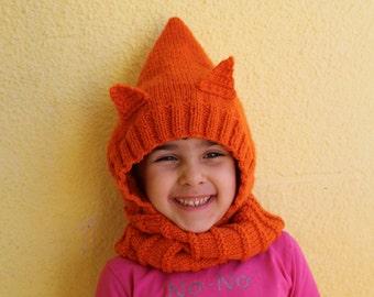 Foxy hooded scarf for kids Kids cowl Cat hood Knit kids hood scarf Hood scarf Knitted cat hat Knitted  fox hat  Crochet cute little thing