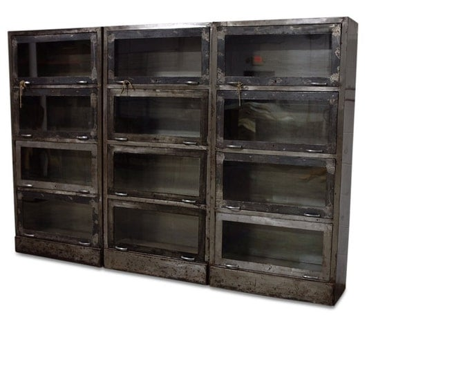 Metal Storage with Glass Doors