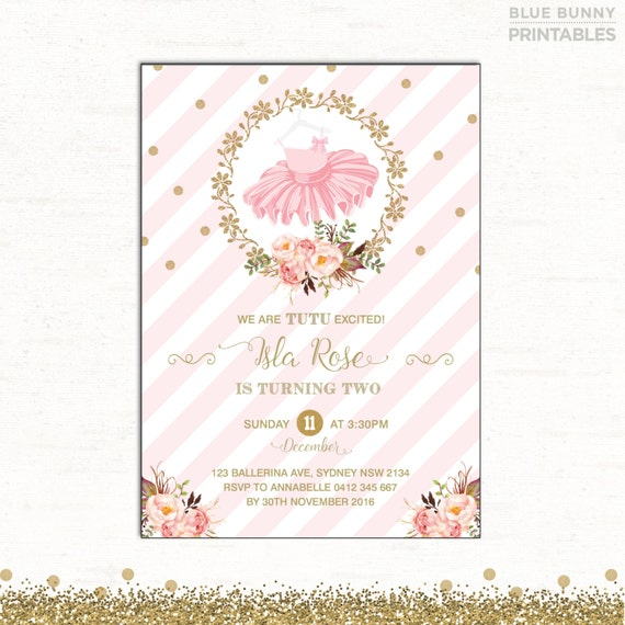 Tutu invitation tutu excited birthday invitation pink and gold il570xn filmwisefo Image collections