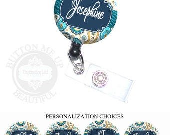 Id Badge Holder - Blue Paisley Floral and Polka Dots Retractable Lanyard Reel Personalized with Name, Monogram, Occupation (A076)