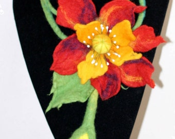 Felted wool Necklace- HANDMADE -  Flower red, yellow.