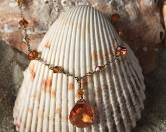 Elegant Topaz Swarovski Crystal and 14K gold Wire Wrapped Necklace