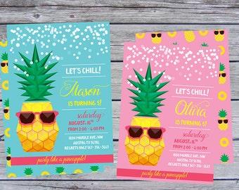 Summer birthday invitation,  summer party, summer birthday invitations, pineapple invitation, pineapple invite, summer invitations