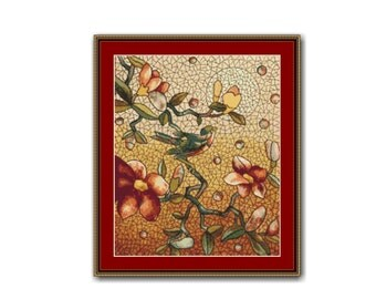Bird and Blossoms Cross Stitch Pattern, Henry Belcher Stained Glass Mosaic , PDF Instant Digital Download Cross Stitch Chart (P-042)