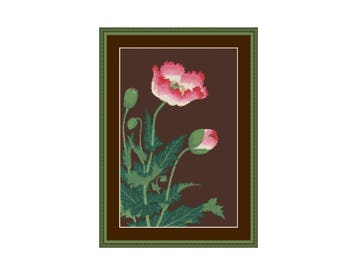 Poppy Flower Cross Stitch Pattern, Ohara Koson Shoson, Instant Digital Download Counted Cross Stitch Chart  (P-147)