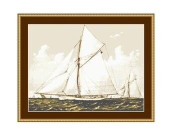 Sailboats Cross Stitch Chart, Instant Download Nautical Cross Stitch Pattern (P-259)