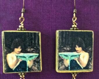 Vintage Wooden Tile Earrings - 'Circe Invidiosa' ~ John Waterhouse  (Item #TG07)