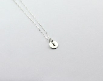 Personalised Necklace - Delicate Initial Jewellery - Tiny Layering Necklace - Silver Letters - Disc Necklace - Bestfriend Necklace - Dainty